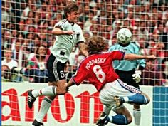 Germany 2 Czech Rep 1 in 1996 at Wembley. Thomas Helmer tries to block a Karel Poborsky shot in the European Championship Final.