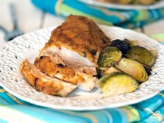 We subbed Trader Joe's turkey breast tenderloin (pounded out) for the chicken and it is sos os so soso so soso so oso tasty Healthy Chicken Recipes, Healthy Cooking, Meat Recipes, Healthy Eating, Cooking Recipes, What's Cooking, Chicken Brussel Sprouts, Brussels Sprouts, Hummus Crusted Chicken