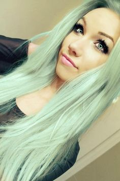 mint hair and pretty makeup. She has the eyes and skin tone to pull this off flawlessly!