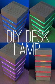 homemade desk lamp, night light made from pallets, RGB LED Led Light Projects, Led Projects, Diy Pallet Projects, Homemade Desk, Homemade Lamps, Diy Tumblr, Led Diy, Diy Led Light, Diy Hacks