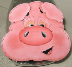 Pig, Cookie Jar Lid,Handmade,Country,Hand Painted,Wood Cookie Lid. $18.99, via Etsy.