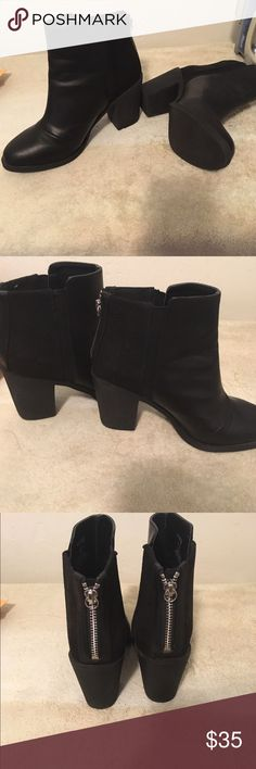 H&M black booties Only wore once. They are super comfortable, some booties make u tired after walking on them but not this booties. U can be walking all day with them & no problem. They're really good material, no wear or tear. In excellent condition. Need to make room In my close     size says 37 US 6.. but I wear a 7 & this shoes fit me good :) H&M Shoes Ankle Boots & Booties