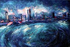 ) view of Montreal at night, viewed from the Champlain Bridge, in the summer. Painted on a 18 x 24 inches canvas with acrylics. Now, in a private collection, Montreal. Best Cities, Artist At Work, Montreal, Painting & Drawing, Wall Art, Inspiring Art, Night, World, City