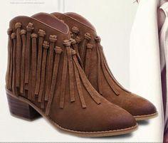 Leather Tassel booties | Leather tassel bootsShoe Width: Medium(B,M)Closure Type: ZipBoot Height: AnkleToe Shape: Round ToeOu | Primary View | Sassy Posh