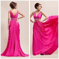 Elegant Evening Gowns And Dresses | Elegant V-Neck Beaded Evening Dress (L10333) - large image for Evening ...