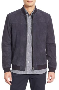 Ted Baker London 'Vipers' Suede Bomber Jacket