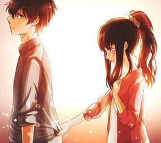 ✮ ANIME ART ✮ anime couple. . .romantic. . .love. . .sweet. . .embarrassed. . .blushing. . .sparkling. . .cute. . .kawaii