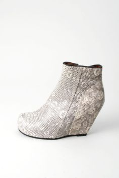 Rick Owens real lizard skin wedge ankle boots 37