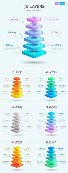3D Layers Infographics #Template - #Infographics Download here: https://graphicriver.net/item/3d-layers-infographics-template/19609457?ref=alena994