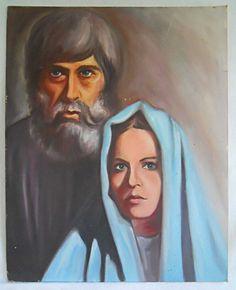 Vintage Mid Century Modern Painting Hippie Wedding Blue Madonna Angst 62 Dylan #Modernism
