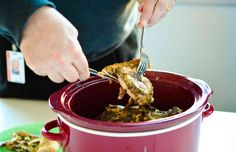 KFC-inspired Chicken in the crockpot - Stephanie O'Dea came up with a healthy slow-cooker recipe to mimic Colonel Sanders secret-recipe. Healthy Slow Cooker, Crock Pot Slow Cooker, Crock Pot Cooking, Slow Cooker Chicken, Slow Cooker Recipes, Crockpot Recipes, Cooking Recipes, Paleo Meals, Copycat Recipes