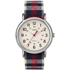 Timex Weekender White Dial With Red Plaid Strap Ladies Watch ($75) ❤ liked on Polyvore featuring jewelry, watches, peace jewelry, white dial watches, buckle watches, timex wrist watch and water resistant watches