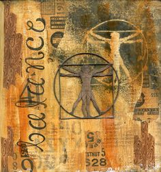 Balance art journal page using Scrap FX Vitruvian Man as a stencil and placing the chipboard piece on the page.