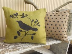 Avocodo Green Burlap pillow stenciled with bird