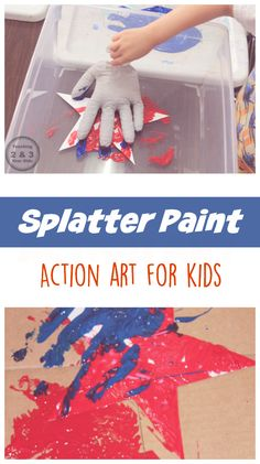 Action Art for kids is super fun! Drop a bean bag of paint into a box and SPLAT! This is a great 4th of July activity, too. Teaching 2 and 3 Year Olds