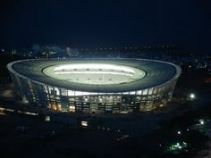 Cape Town Stadium by night - I happen to adore the stadium. The design, the atmosphere and the infrastructure. Volunteer Abroad, Gap Year, Cape Town, Night Life, South Africa, Beautiful Homes, To Go, Lights, Volunteers