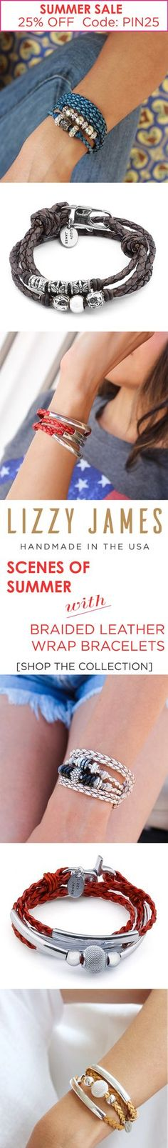 Lizzy James Jewelry's most popular braided leather colors for our most popular wrap bracelet styles! Get 25% OFF with CODE - PIN25 Plus Free Shipping during our Summer Sale. Featuring the colored braided leather wrap bracelets that can be worn as a choker-style necklace. Handmade in the USA and currently part of our sitewide Lizzy James sale. #MadeInUSA