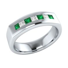 0.60 ct Green Emerald & White Sapphire Sterling Silver Mens Wedding Band…