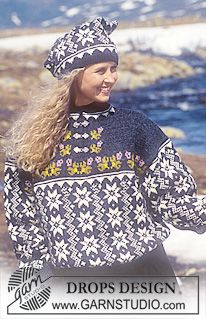 DROPS 32-3 - DROPS sweater and hat in Karisma Superwash with stars and grey yoke  - Free pattern by DROPS Design