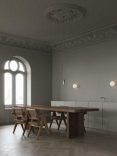 Beige kitchen / dining room by Emil Dervish and Evgeniy Bulatnikov