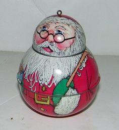 Hallmark Vintage Tin Jolly Wolly Santa 1991 Tin, Christmas Bulbs, Santa, Holiday Decor, Vintage, Collection, Home Decor, Decoration Home, Christmas Light Bulbs