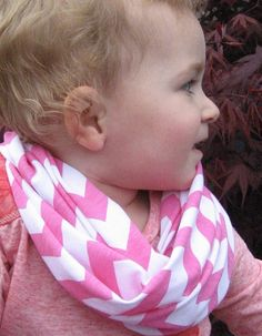 Pretty in Pink Child Baby Toddler jersey knit Chevron Scarf Photo Prop by ChevronScarf
