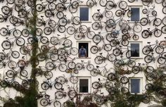 Wall of Bicycles.