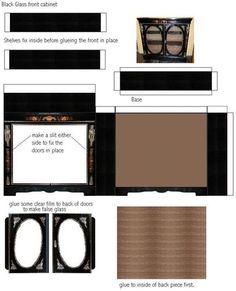 Paper Furniture, Doll Furniture, Dollhouse Furniture, Glass Glue, Glass Front Cabinets, Garden Angels, Back Pieces, Miniature Furniture, Black Glass
