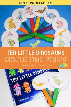 This Ten Little Dinosaurs circle time activity is a fun way to work on simple math skills with preschoolers. Free printable props included! #preschool #dinosaurs #math #counting #printable #circletime #teachers #earlychildhood #education #literacy #3yearolds #teaching2and3yearolds Toddler Circle Time, Circle Time Games, Dinosaur Theme Preschool, Dinosaur Printables, Toddler Activities, Circle Time Activities Preschool, Classroom Activities, Book Activities, Lesson Plans For Toddlers