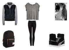 """""""Rebel"""" by myl25 ❤ liked on Polyvore featuring Forever New, H&M, Herschel and Puma"""