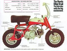 1968 Honda Mini-Trail 50.  My first bike, it was blue and silver. A lot of bike for a youngster.