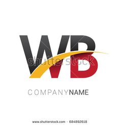 initial letter WB logotype company name colored red, black and yellow swoosh design. isolated on white background. Business Card Template Photoshop, Construction Design, Initial Letters, Business Branding, Company Names, Logo Inspiration, Red Black, Alphabet, Initials