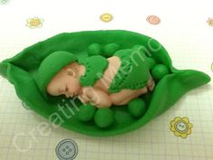 Pea in a Pod Fondant Baby Cake Topper by anafeke on Etsy, $15.00