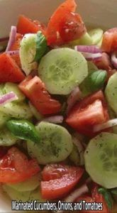 ingredients: 3 medium cucumbers, peeled and sliced inch thick 1 medium onion, sliced and separated into rings 3 medium tomatoes, cut into wedges cup vinegar cup sugar 1 cup water 2 teaspoons salt 1 teaspoon fresh coarse ground black pepper Marinated Cucumbers, Cucumbers And Onions, Cucumber Tomato Salad, Cucumber Salad Vinegar, Cucumber Recipes, Recipes With Cucumbers, Cucmber Salad, Cucumber Salad Dressing, Healthy Coleslaw Recipes