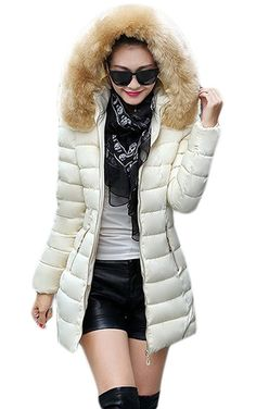 Woo2u Women Fur Collar Slim Plus Size Long Quilted Coat * See this great image  : Plus size coats