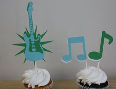 Guitar Rockstar Music Note Cupcake Toppers Set of 12 by Pinkless