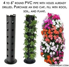 cheap, easy beautiful way to create vertical garden.put in among other plants in the garden.space saverA cheap, easy beautiful way to create vertical garden.put in among other plants in the garden. Backyard Garden Landscape, Small Backyard Gardens, Backyard Landscaping, Vertical Gardens, Backyard Ideas, Balcony Garden, Flower Tower, Pinterest Garden, Tower Garden