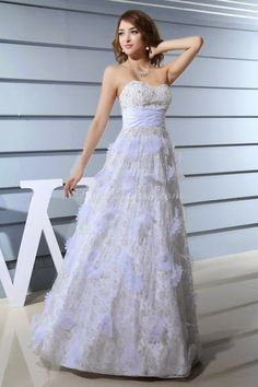 Lace Flowers A-line Sweetheart Pleated Long Evening Dress