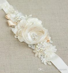Wholesale Elie Saab - Buy 2014 Stunning New Fashion Custom Made Dazzling Beaded Lace And Pearls Flowers Wedding Sash Bridal Belt, $43| DHgate