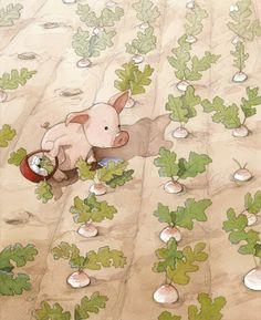 Quentin Gréban. Art, pink piggy in the garden.