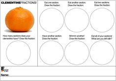 E is for Explore!: Clementine Fractions! Fun and yummy fraction activity.