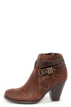 Madden Girl Sulleyy Cognac Belted High Heel Ankle Boots at LuLus.com! - $59