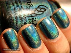 China Glaze DV8. Bright teal holo. So nice... my second favourite from the collection.