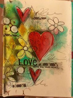 Love with all your heart - art journal page