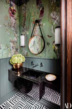 Tour More of the Warm, Layered, Art-Filled Home A wallpaper by Timorous Beasties and beadboard paneling painted in Farrow Balls Green Smoke wrap the powder room. Wood Wallpaper, Bathroom Wallpaper, Green Wallpaper, Powder Room With Wallpaper, Bathroom Beadboard, Smoke Wallpaper, Bad Inspiration, Bathroom Inspiration, Luxury Home Decor
