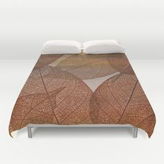 Painterly Amber And Brown Leaf Abstract Duvet Cover by Judy Palkimas - $99.00