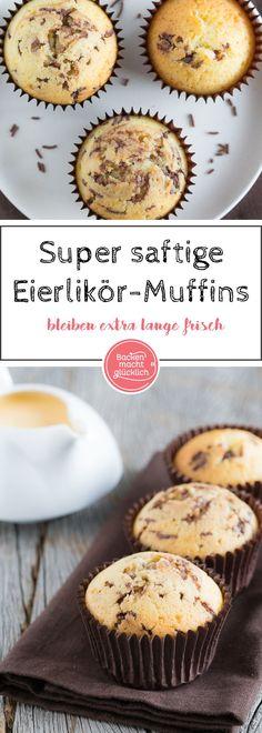 Diese Eierlikör-Muffins werden richtig toll saftig. Außerdem sind die Muffins mit Eierlikör und Öl super lange frisch und ganz einfach zu machen.