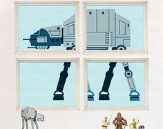 Star Wars Nursery Art- AT-AT-Boy Room Decor - Elephant Nursery 4 Print Set - Baby Shower Gift - Kids Play Room - Boy Wall Art- Jungle Safari