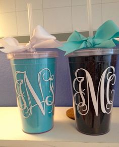 Great bridesmaid gift - a monogrammed tumbler! Love it! Especially since coffee is huge to me and my girls!!!
