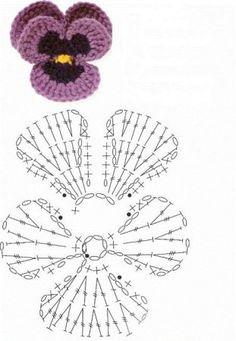 Как связать цветы анютины глазки крючком: схемы